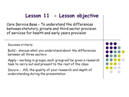Lesson 11 - Lesson objective Care Service Base - To understand the differences between statutory, private and third sector provision of services for health.