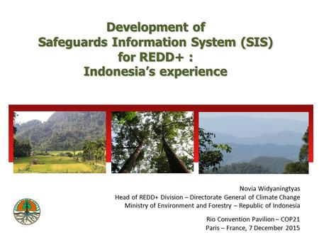 Development of Safeguards Information System (SIS) for REDD+ : Indonesia's experience Rio Convention Pavilion – COP21 Paris – France, 7 December 2015 Novia.
