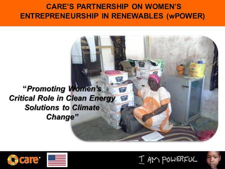 "CARE'S PARTNERSHIP ON WOMEN'S ENTREPRENEURSHIP IN RENEWABLES (wPOWER) ""Promoting Women's Critical Role in Clean Energy Solutions to Climate Change"""