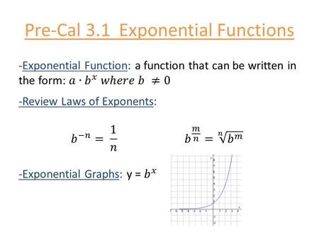 Pre-Cal 3.1 Exponential Functions. -Transforming exponential graphs: -natural base e: = 2.71828… -To solve an exponential equation: 1. Rewrite the powers.
