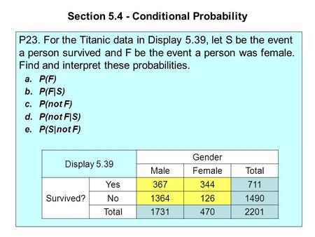 Section 5.4 - Conditional Probability P23. For the Titanic data in Display 5.39, let S be the event a person survived and F be the event a person was female.
