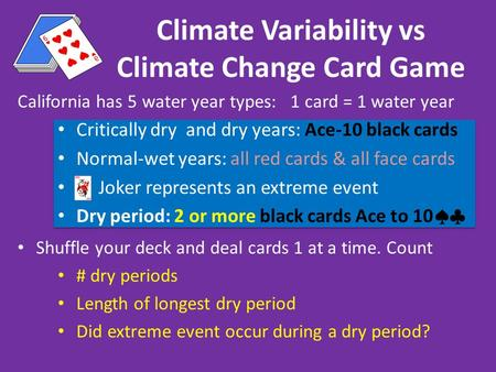 California has 5 water year types: 1 card = 1 water year Critically dry and dry years: Ace-10 black cards Normal-wet years: all red cards & all face cards.