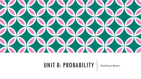 UNIT 8: PROBABILITY Final Exam Review. TOPICS TO INCLUDE  Sample Space  Basic Probability  Venn Diagrams  Tree Diagrams  Fundamental Counting Principle.