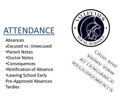 ATTENDANCE Absences Excused vs. Unexcused Parent Notes Doctor Notes Consequences Notification of Absence Leaving School Early Pre-Approved Absences Tardies.