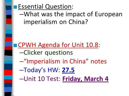 Imperialism question