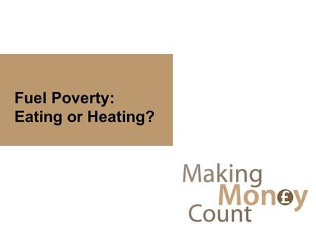 Fuel Poverty: Eating or Heating?. Welcome Carol Hopkinson - Money Matters Adviser, CHS Group Lorraine Payne - Financial Education Manager, CAB Cambridge.