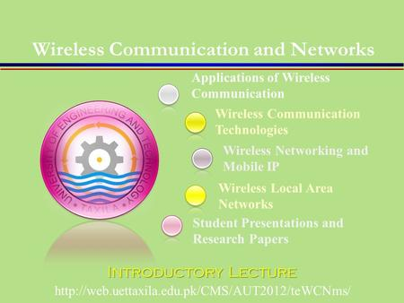 Applications of Wireless Communication Student Presentations and Research Papers Wireless Communication Technologies Wireless Networking and Mobile IP.