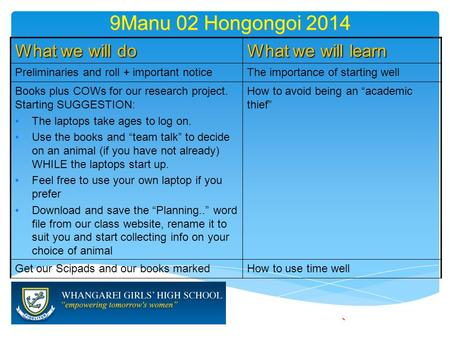 9Manu 02 Hongongoi 2014 What we will do What we will learn Preliminaries and roll + important noticeThe importance of starting well Books plus COWs for.