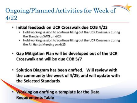 Ongoing/Planned Activities for Week of 4/22 Initial feedback on UCR Crosswalk due COB 4/23 Hold working session to continue filling out the UCR Crosswalk.