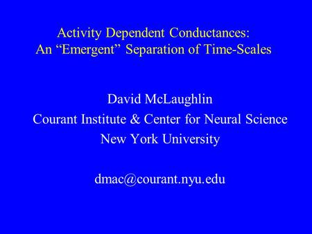 "Activity Dependent Conductances: An ""Emergent"" Separation of Time-Scales David McLaughlin Courant Institute & Center for Neural Science New York University."