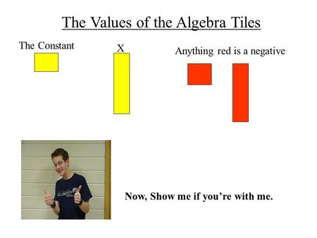 The Values of the Algebra Tiles The Constant X Anything red is a negative Now, Show me if you're with me.