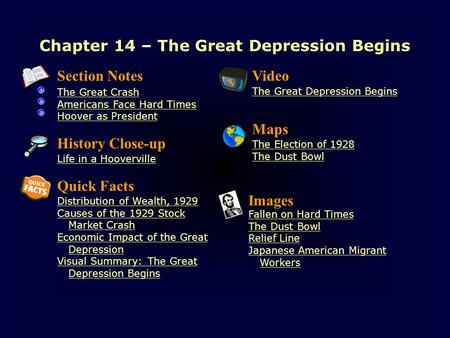 Chapter 14 – The Great Depression Begins Section Notes The Great Crash Americans Face Hard Times Hoover as President Video The Great Depression Begins.