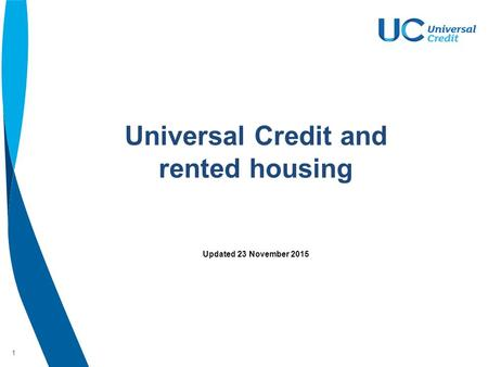 1 Universal Credit and rented housing Updated 23 November 2015.
