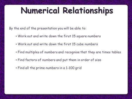 Numerical Relationships