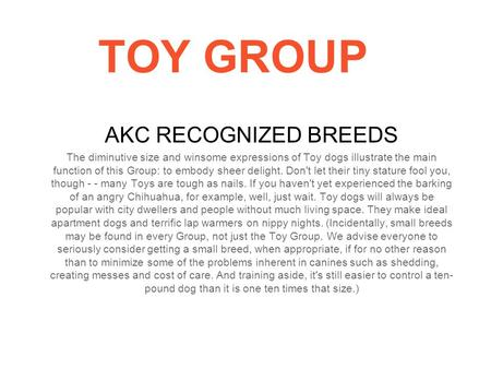 TOY GROUP AKC RECOGNIZED BREEDS The diminutive size and winsome expressions of Toy dogs illustrate the main function of this Group: to embody sheer delight.