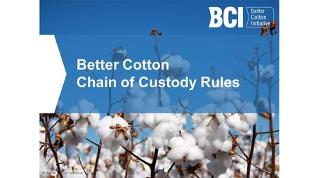 Better Cotton Chain of Custody Rules © Better Cotton Initiative.
