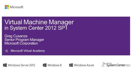 Microsoft Virtual Academy. System Center 2012 Virtual Machine Manager SQL Server Windows Server Manages Microsoft Hyper-V Server 2008 R2 Windows Server.