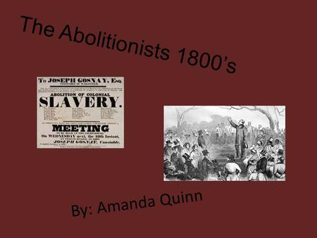 By: Amanda Quinn The Abolitionists 1800's. The Abolitionist in the United States was a movement and was an effort that try to end slavery and slave trade.