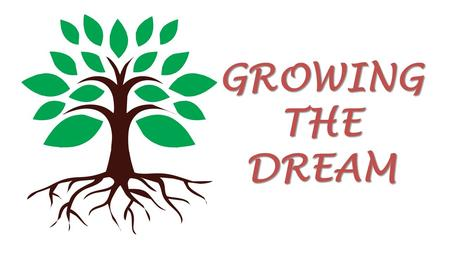 "GROWING THE DREAM. Welcome Purpose of Tonight ""Growing the Dream"". No doubt you have seen and heard several bits of information or discussion on ""Growing."