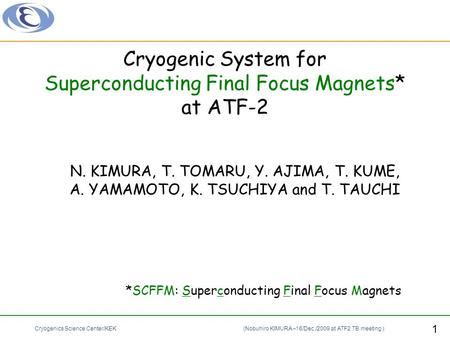Cryogenic System for Superconducting Final Focus Magnets* at ATF-2