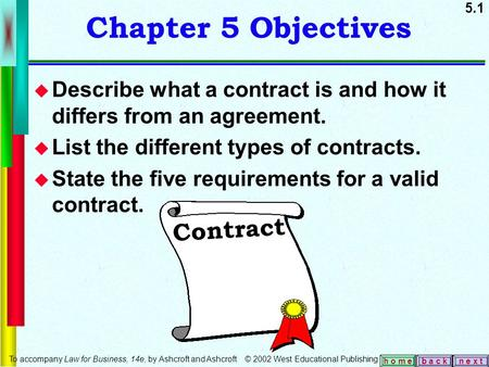 5.1 b a c kn e x t h o m e Chapter 5 Objectives  Describe what a contract is and how it differs from an agreement.  List the different types of contracts.