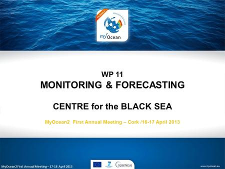 MyOcean2 First Annual Meeting – 17-18 April 2013 WP 11 MONITORING & FORECASTING CENTRE for the BLACK SEA MyOcean2 First Annual Meeting – Cork /16-17 April.