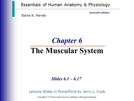 Essentials of Human Anatomy & Physiology Copyright © 2003 Pearson Education, Inc. publishing as Benjamin Cummings Slides 6.1 – 6.17 Seventh Edition Elaine.