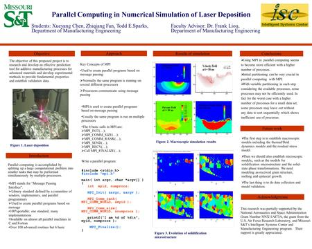 Parallel Computing in Numerical Simulation of Laser Deposition The objective of this proposed project is to research and develop an effective prediction.