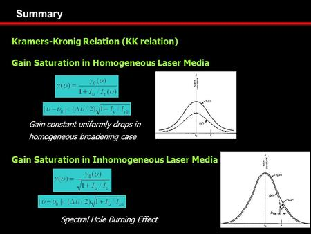 Summary Kramers-Kronig Relation (KK relation) Gain Saturation in Homogeneous Laser Media Gain Saturation in Inhomogeneous Laser Media Gain constant uniformly.