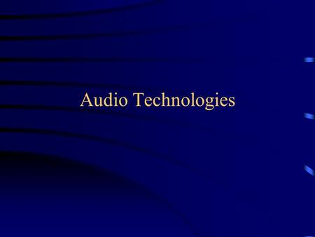 Audio Technologies. Waveform The image of the oscillation Amplitude= the height or depth of the signal from the time baseline Frequency= number of wave.