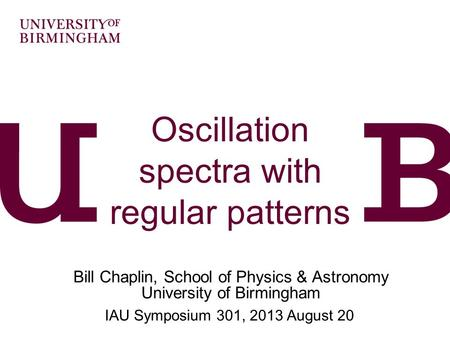 Oscillation spectra with regular patterns