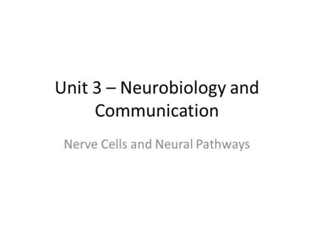 Unit 3 – Neurobiology and Communication Nerve Cells and Neural Pathways.