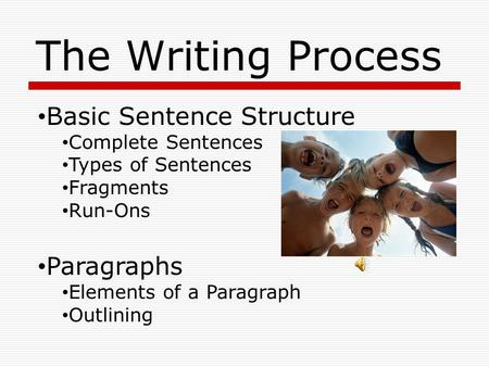The Writing Process Basic Sentence Structure Complete Sentences Types of Sentences Fragments Run-Ons Paragraphs Elements of a Paragraph Outlining.