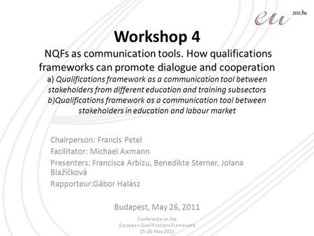 Workshop 4 NQFs as communication tools. How qualifications frameworks can promote dialogue and cooperation a) Qualifications framework as a communication.