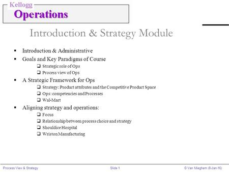 Slide 1Process View & Strategy© Van Mieghem (8-Jan-16) Introduction & Strategy Module  Introduction & Administrative  Goals and Key Paradigms of Course.