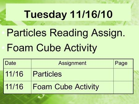 Tuesday 11/16/10 Particles Reading Assign. Foam Cube Activity DateAssignmentPage 11/16Particles 11/16.