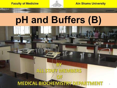 Faculty of Medicine Ain Shams University Medical Biochemistry & Molecular Biology Department 1 pH and Buffers (B)