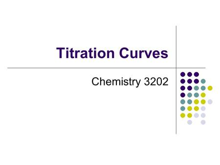 Titration Curves Chemistry 3202. Titration Curves A titration curve is a graph of changes in pH during a titration. The shape of the curve depends on.