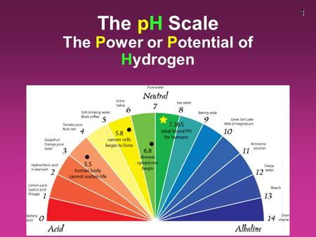 1 The pH Scale The Power or Potential of Hydrogen.