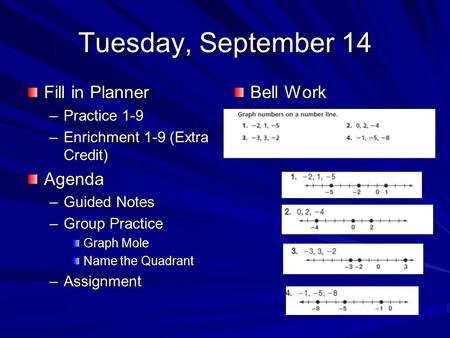Tuesday, September 14 Fill in Planner –Practice 1-9 –Enrichment 1-9 (Extra Credit) Agenda –Guided Notes –Group Practice Graph Mole Name the Quadrant –Assignment.