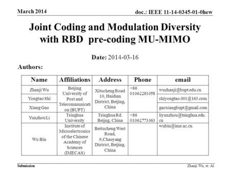 Doc.: IEEE 11-14-0345-01-0hew Submission March 2014 Submission Zhanji Wu, et. Al. Joint Coding and Modulation Diversity with RBD pre-coding MU-MIMO Date: