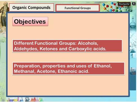 Element Elements and Compounds Functional Groups Organic Compounds Compounds A compound is a substance composed of two or more elements, chemically combined.