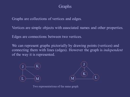 Graphs Graphs are collections of vertices and edges. Vertices are simple objects with associated names and other properties. Edges are connections between.