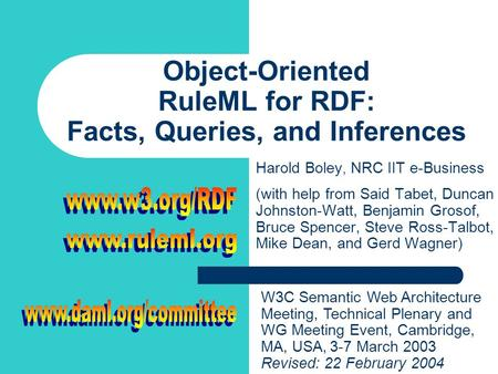 Object-Oriented RuleML for RDF: Facts, Queries, and Inferences Harold Boley, NRC IIT e-Business (with help from Said Tabet, Duncan Johnston-Watt, Benjamin.