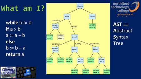 What am I? while b != 0 if a > b a := a − b else b := b − a return a AST == Abstract Syntax Tree.