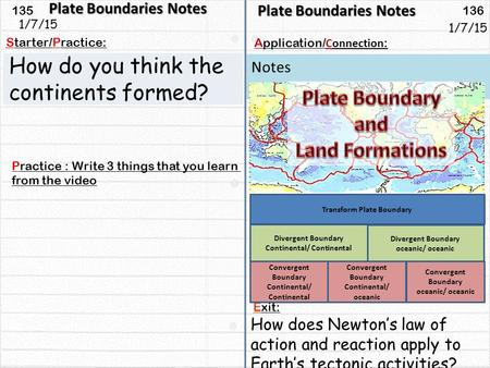 135 136 Starter/Practice: Connection : Application/ Notes 1/7/15 Plate Boundaries Notes How do you think the continents formed? Plate Boundaries Notes.