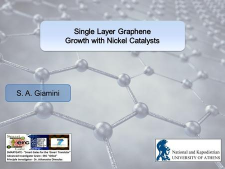 S. A. Giamini. Graphene A hexagonal honeycomb lattice of carbon. In its basic form it is a one-atom thick (2D) sheet. Interesting properties: Better electric.