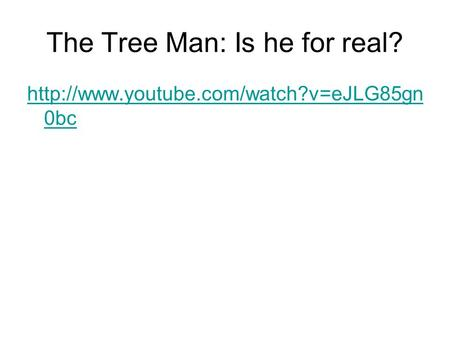 The Tree Man: Is he for real?  0bc.