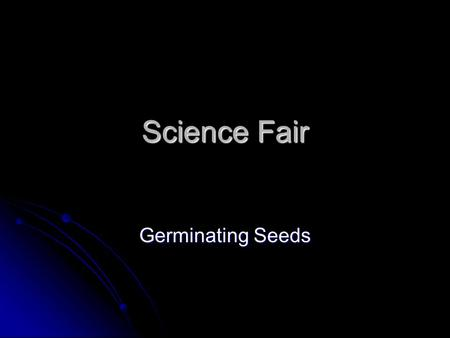 Science Fair Germinating Seeds.