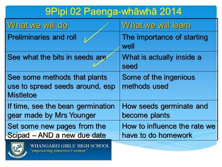 9Pipi 02 Paenga-whāwhā 2014 What we will do What we will learn Preliminaries and roll The importance of starting well See what the bits in seeds are What.